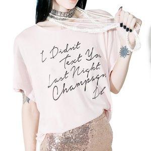 Wildfox Pink Drunk Text Champagne Sleep Shirt